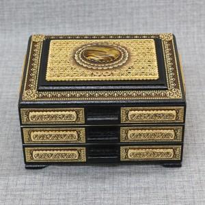 Шкатулка деревянная комод прорезной с-к тигровый глаз Артикул 05001-5000    180x150x110