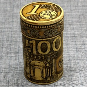 "Тубус под деньги из бересты""Евро"" Артикул 01805-02  45х75"