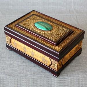 Шкатулка деревянная ларец с камнем малахит Артикул 04001-20  250x170x100