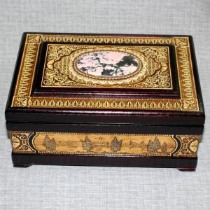 Шкатулка деревянная ларец с камнем родонит Артикул 04001-2  250x170x100