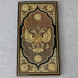 "Нарды ""Герб РФ с малахитом"" Артикул 01612-2"