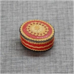 Шкатулка из бересты накладная красная Артикул 60400-01  65*55*35