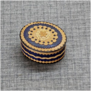 Шкатулка из бересты накладная синяя Артикул 60400-02  65*55*35