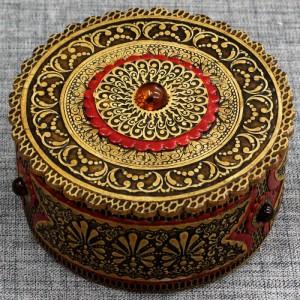 шкатулка бол прорезная с янтарем Артикул 32201-1  d=85