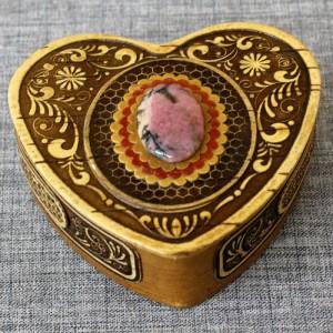 Шкатулка из бересты сердце с-к 2 вариант... Артикул 20936-1