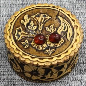 "шкатулка ""Цветы"" с янтариками Артикул 32050-4  d=55"