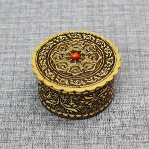 шкатулка круглая узор 4 с янтарем Артикул 91000 - 203  60*35