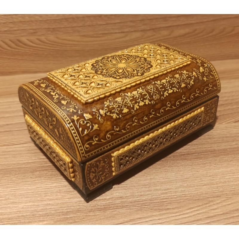 """Шкатулка деревянная сундук """" 2 - вид прорезной """" Артикул 01606-5"""